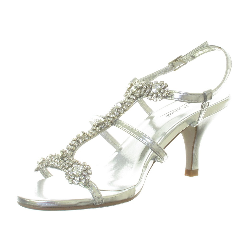 Bridal Shoes Silver: WOMENS SILVER DIAMANTE LOW MID HEEL WEDDING BRIDAL PARTY