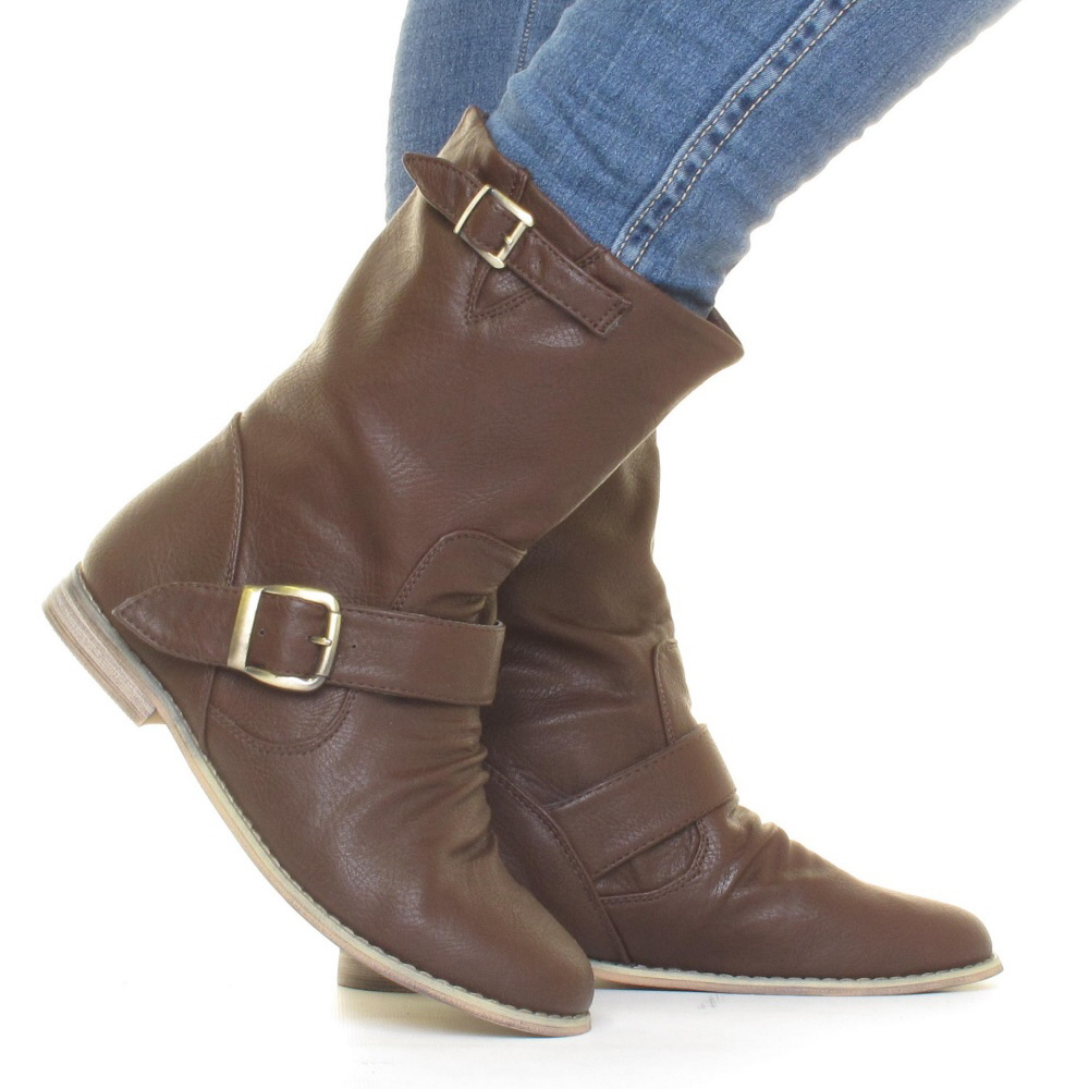 womens brown leather style flat casual biker ankle