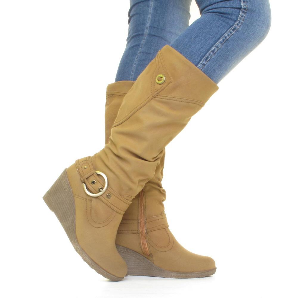 womens knee high mid wedge heel fur lined winter