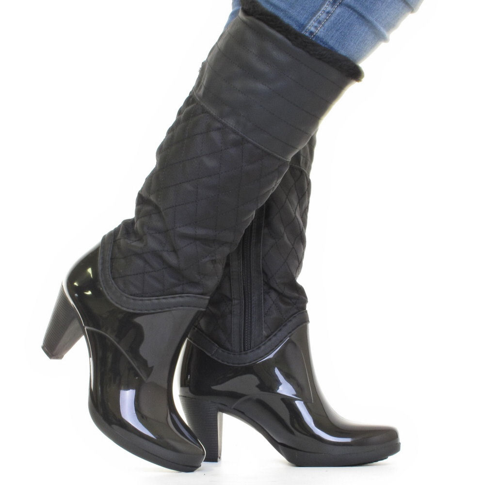 womens black quilted glossy fur lined heeled wellington