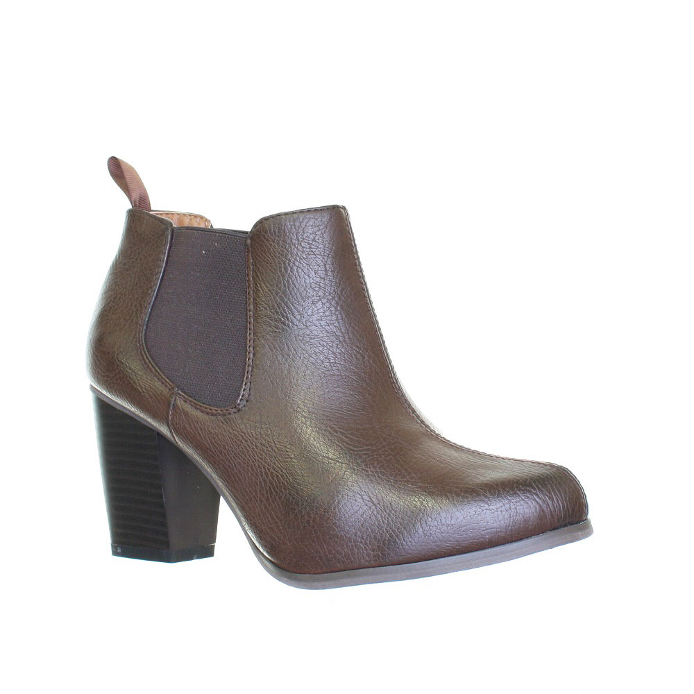 new womens pull on heeled leather style chelsea