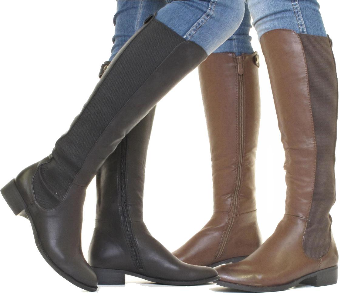 Women's Slim Fit Knee High Chelsea Brown Boots 22