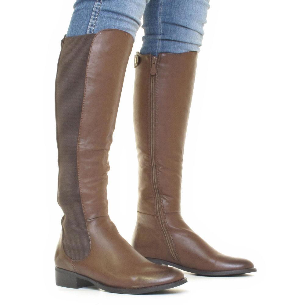 Women's Slim Fit Knee High Chelsea Brown Boots 14