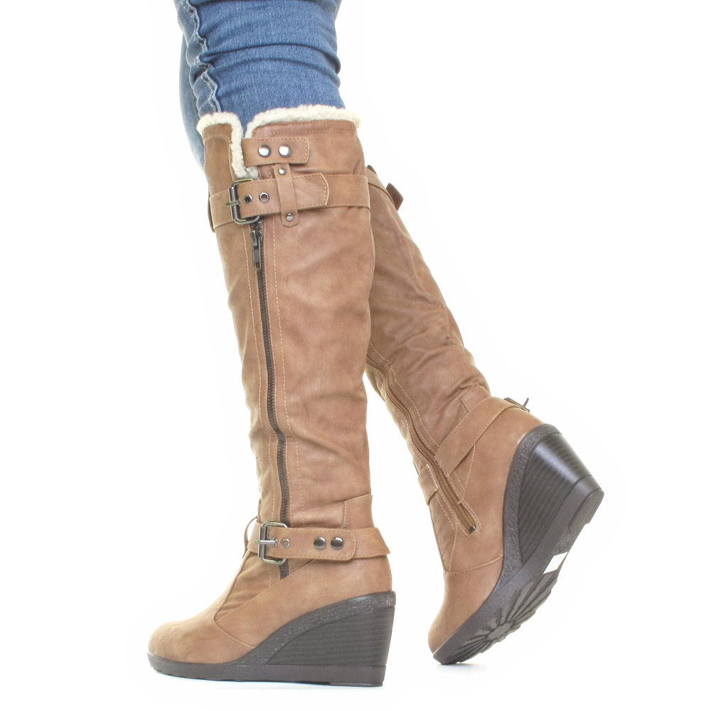 womens mid wedge biker buckle slim calf fit knee high