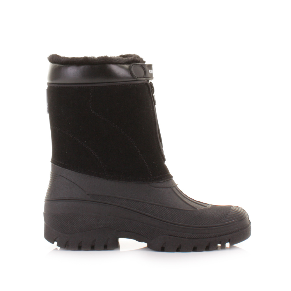 Mens black fur lined mucker waterproof outdoor yard garden for Mens garden boots