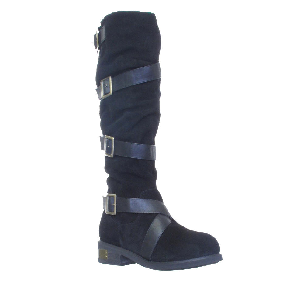 WOMENS-BLACK-SUEDE-FIRETRAP-BUCKLE-BIKER-FLAT-CASUAL-KNEE-HIGH-BOOTS-SIZE-3-8