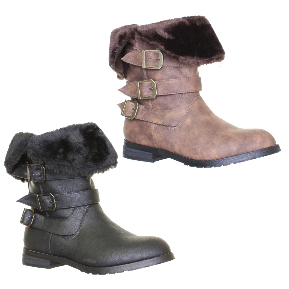 womens fur cuff trim pull on biker ankle boots with