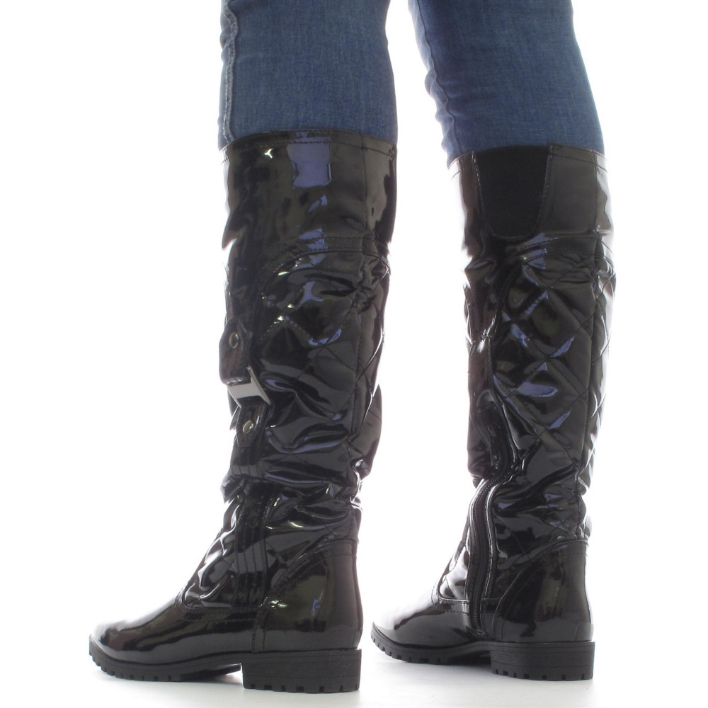 womens black slim calf fit patent wedge heel