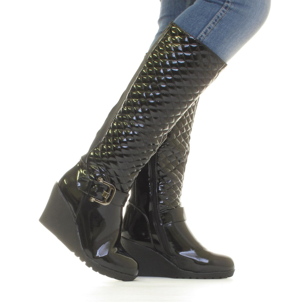 womens black patent wedge heel quilted smart knee high