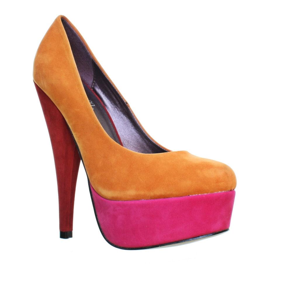 womens colour block orange pink red high heel platform court shoes size 3 8 ebay. Black Bedroom Furniture Sets. Home Design Ideas