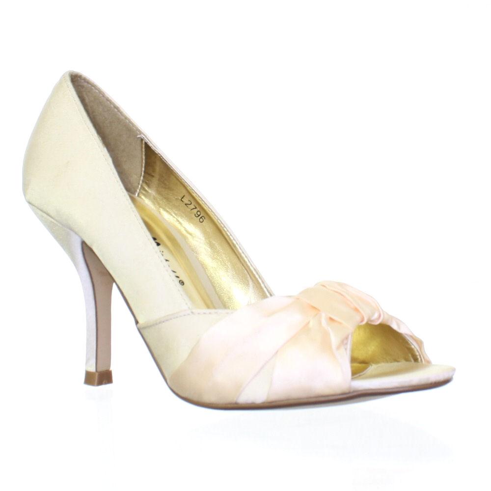 womens champagne ivory wedding bridal peep toe satin. Black Bedroom Furniture Sets. Home Design Ideas