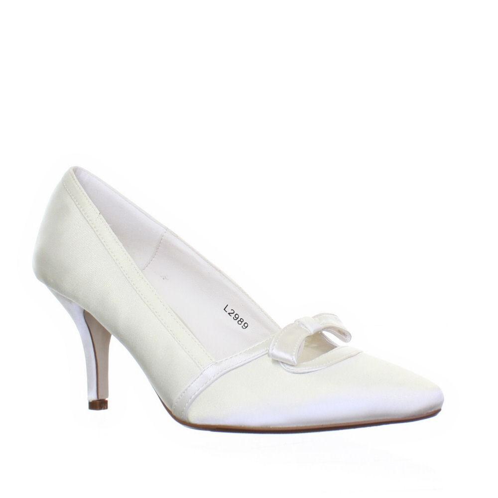 womens ivory satin kitten heel bow wedding bridal
