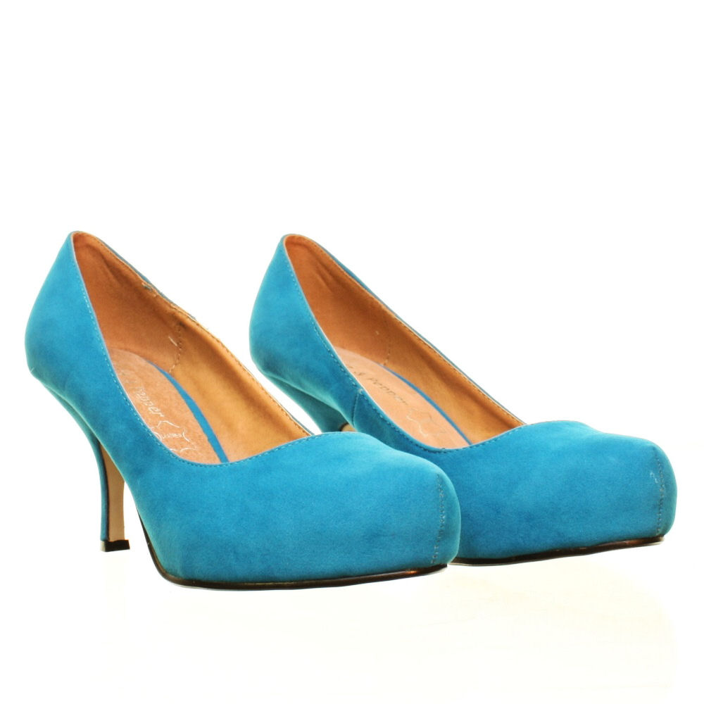 Womens Court Shoes Turquoise Low Kitten Heel Round Toe Leather ...