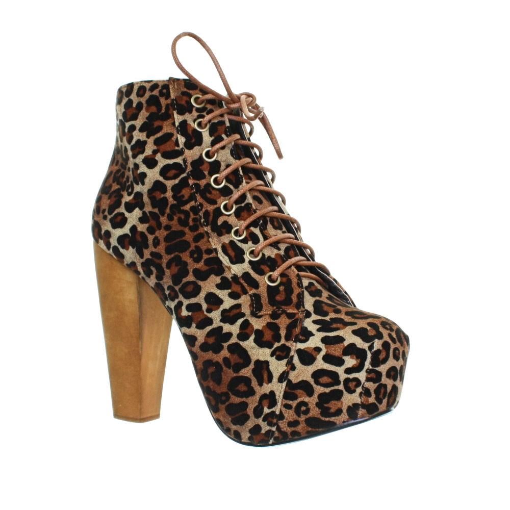 Stiefeletten-Schuhe-Damen-Holz-Absatz-Eckige-Spitze-Leopard-Geschnuert-36-41
