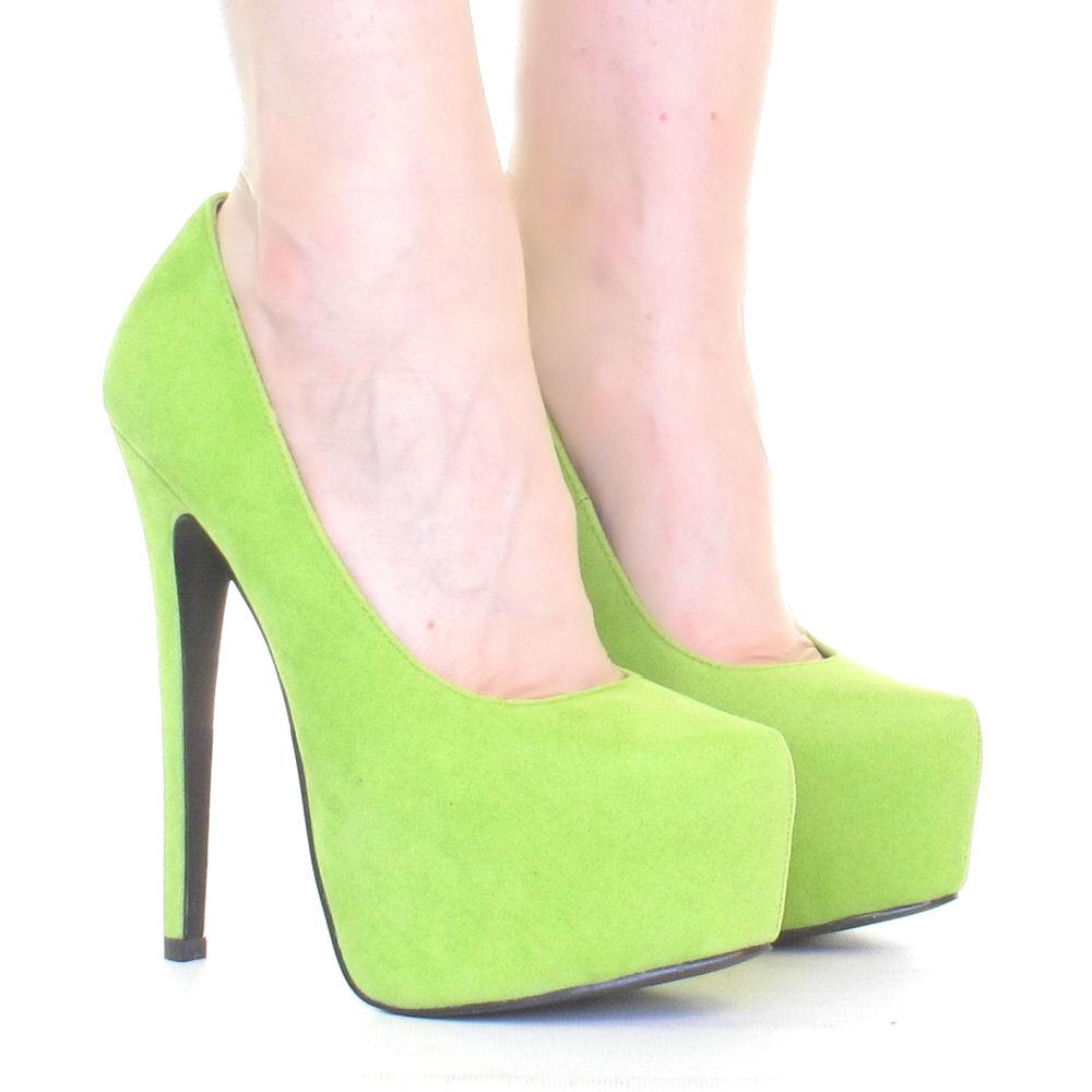 womens lime green platform stiletto high heel