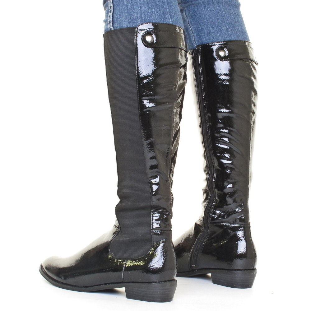 womens knee high leather style elasticated slim calf