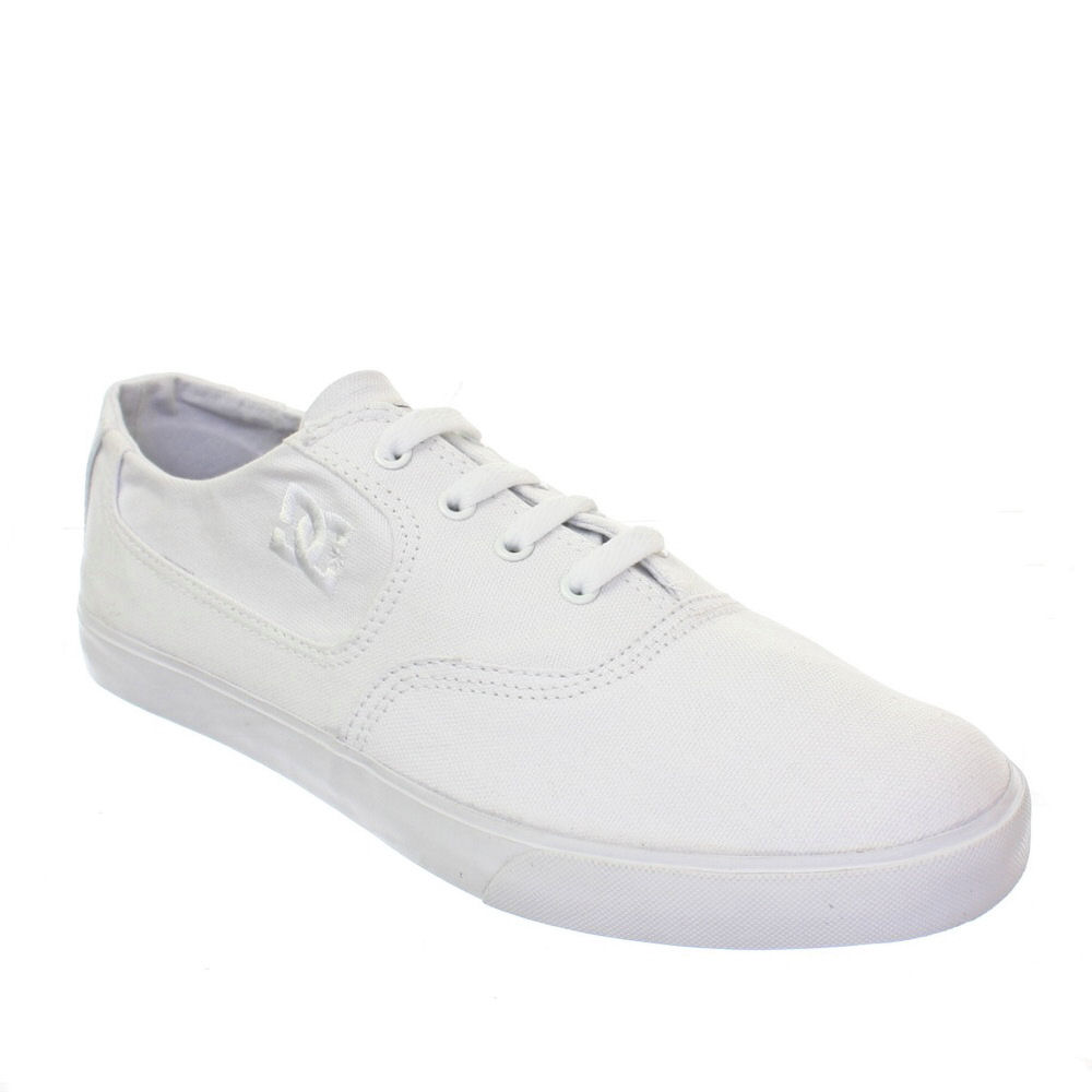 mens dc shoes flash tx white canvas plimsolls lace up