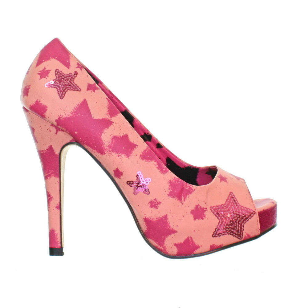 womens iron play platform pink sequin peep toe
