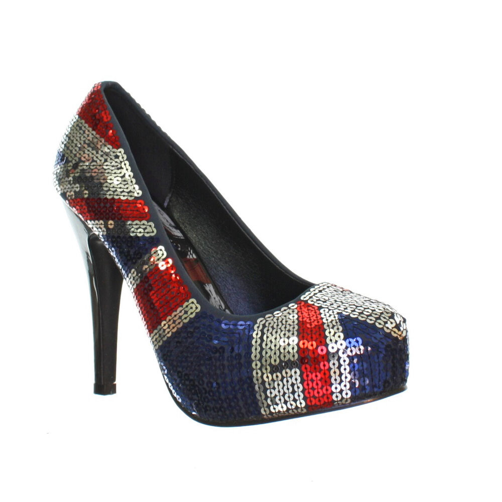 damen schuhe iron fist union jack motiv blau pailletten plateau pumps 36 41 ebay. Black Bedroom Furniture Sets. Home Design Ideas
