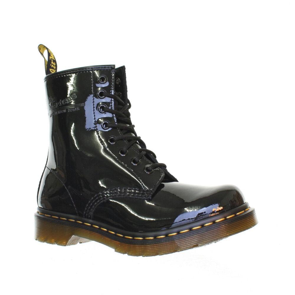 womens dr martens 1460 black patent ler retro dm boots
