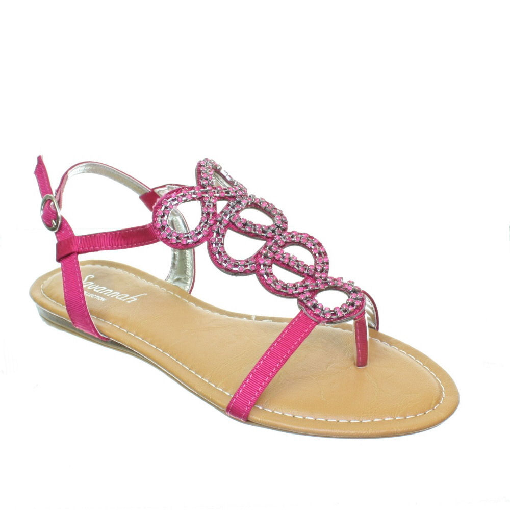 Womens Flat Diamante Toe Post Orange Pink Teal Ladies