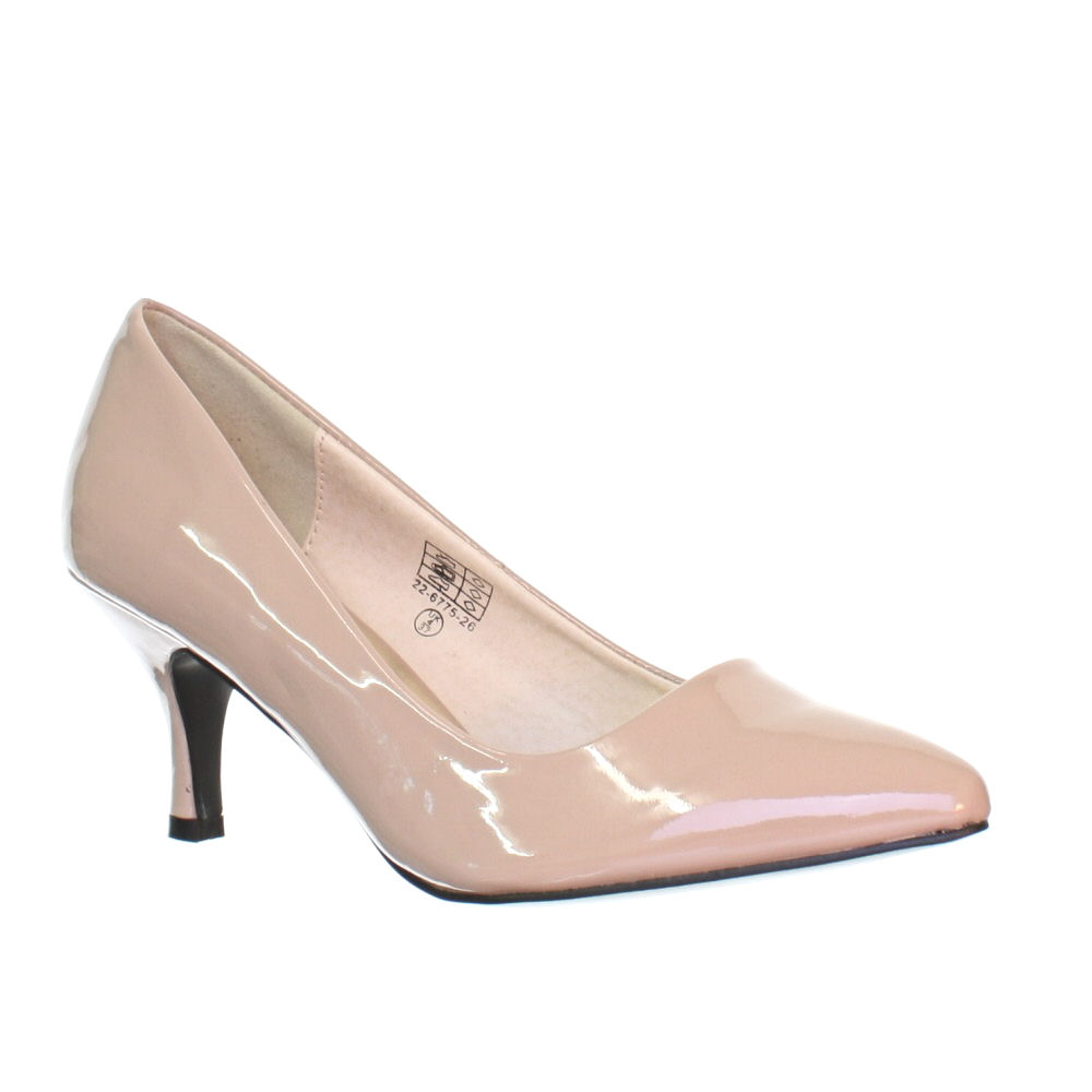 NEW WOMENS PATENT LOW KITTEN HEEL POINTY LADIES WORK COURT SHOES ...