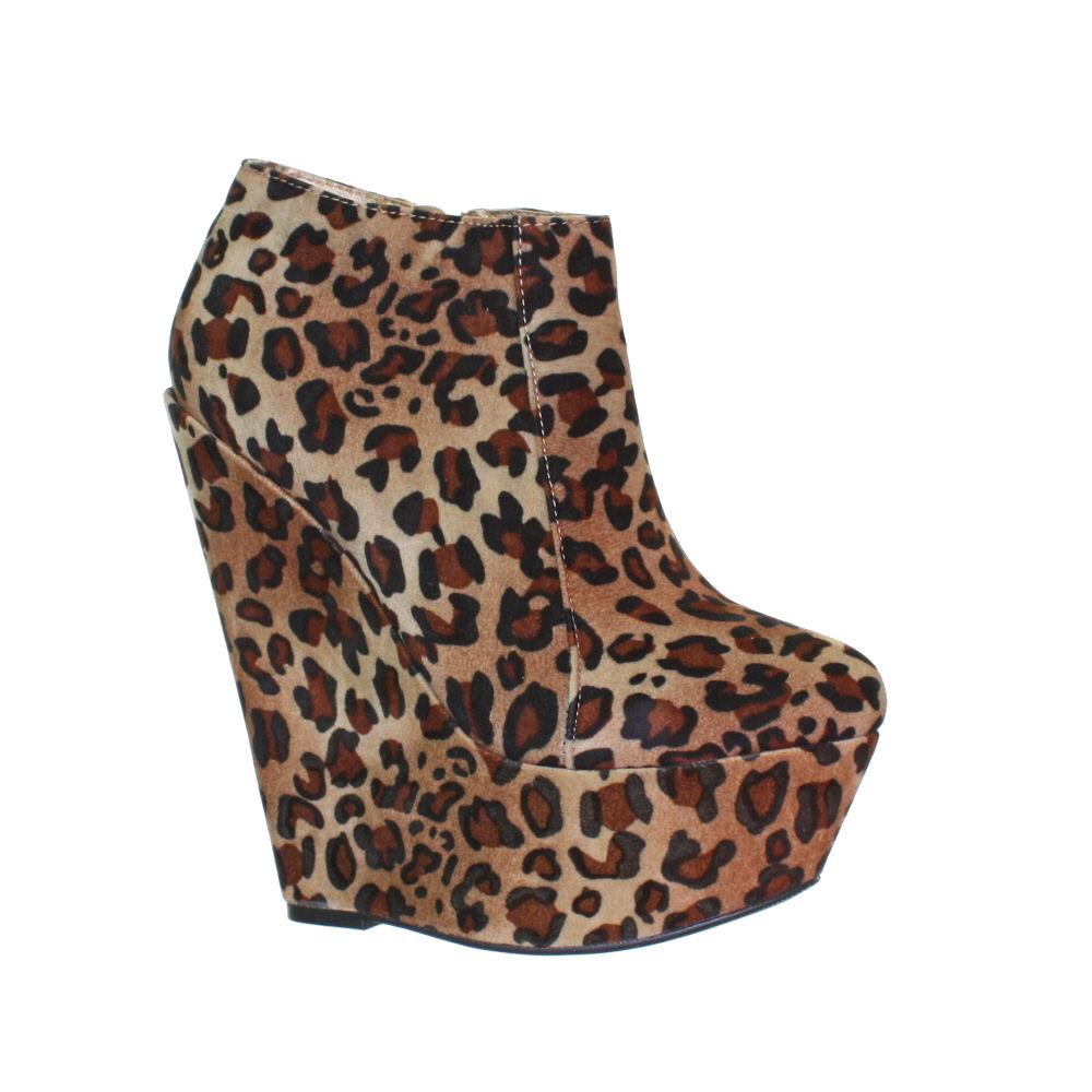 womens high leopard print platform wedge heel