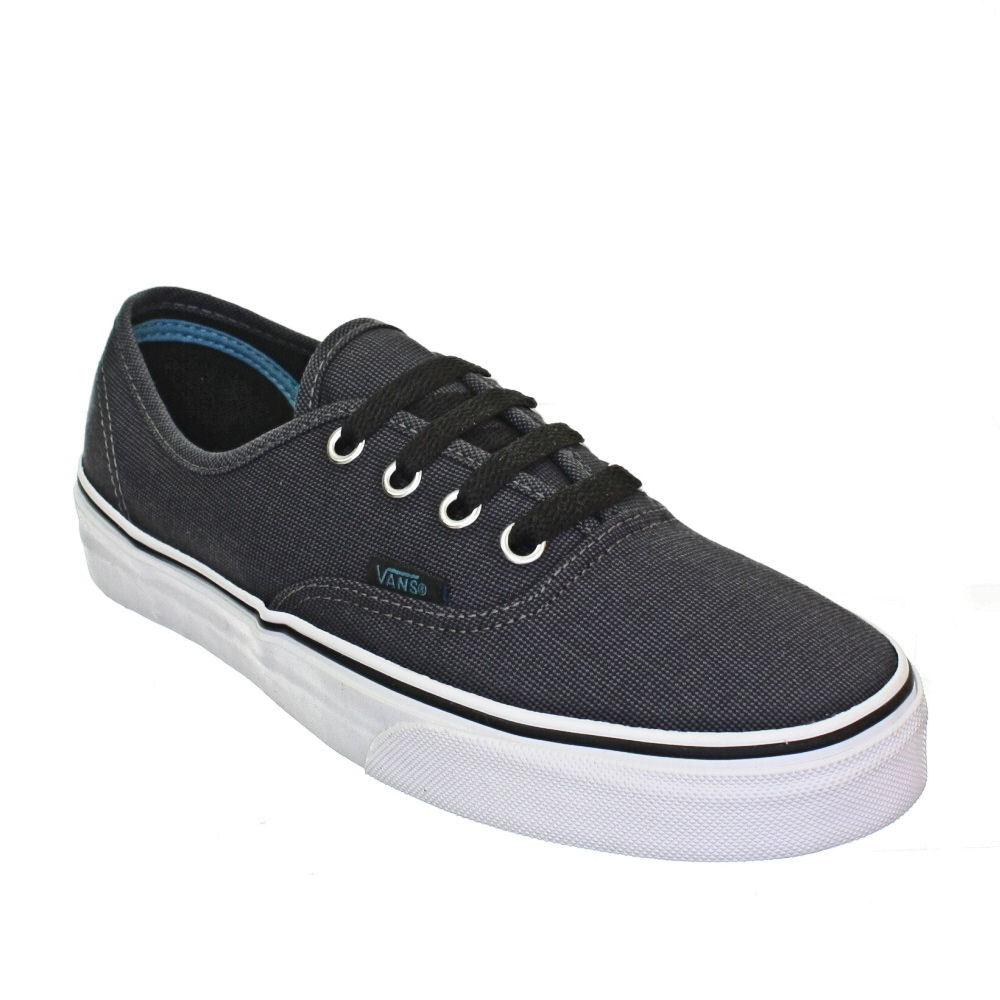 WOMENS-VANS-AUTHENTIC-SUITED-BLACK-PEWTER-LACE-UP-VULCANISED-TRAINERS-SIZE-3-8