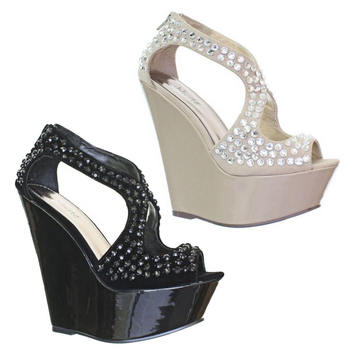 pumps damen high heels keilabsatz platteausohle. Black Bedroom Furniture Sets. Home Design Ideas