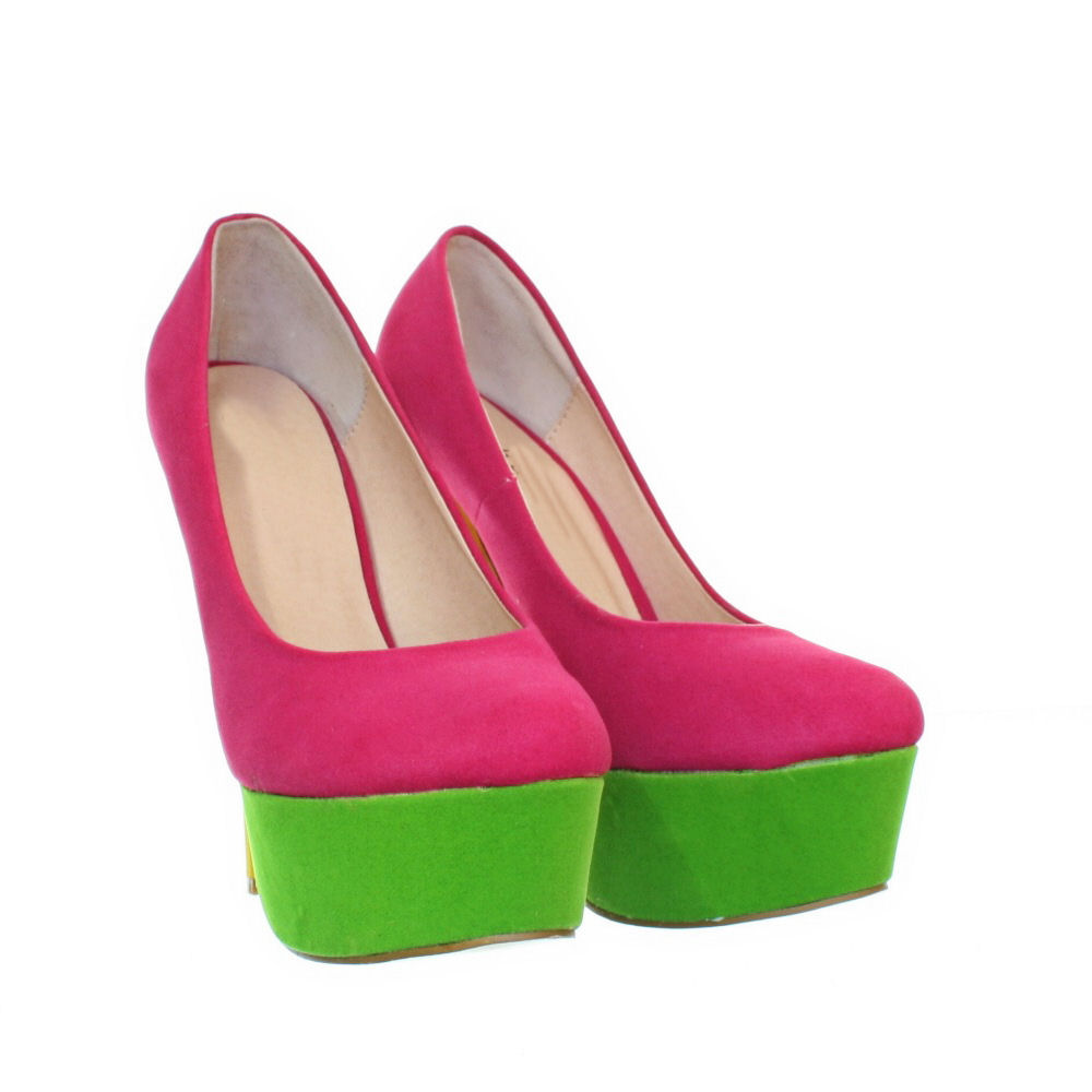 womens high heel pink bright colour block stiletto