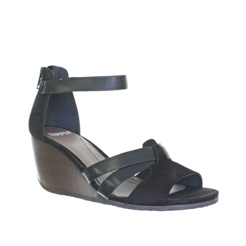 Women Camper Laura Wedge Ankle Strap Mid Heel Leather Sandals Size ...