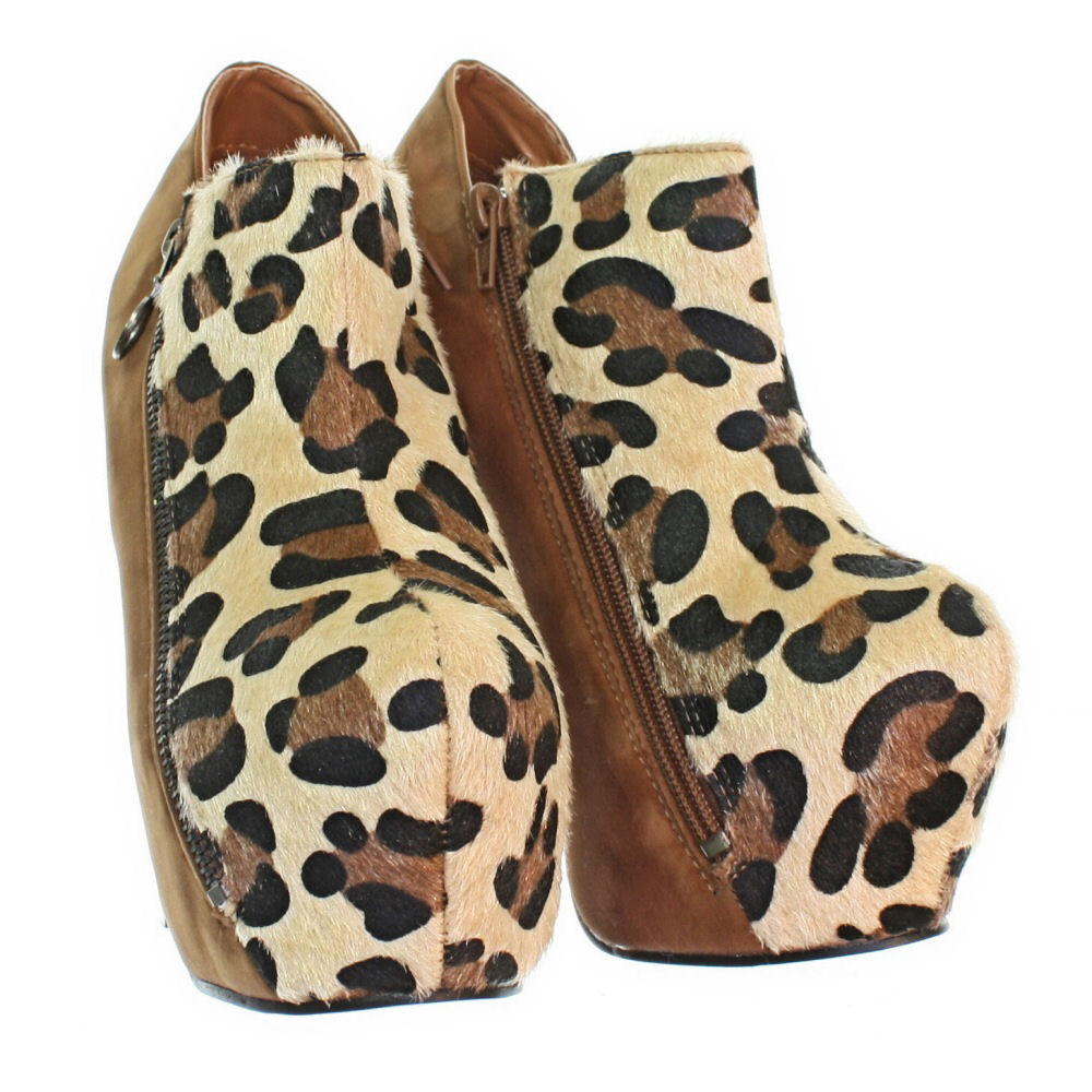 womens platform block heel leopard print chestnut high