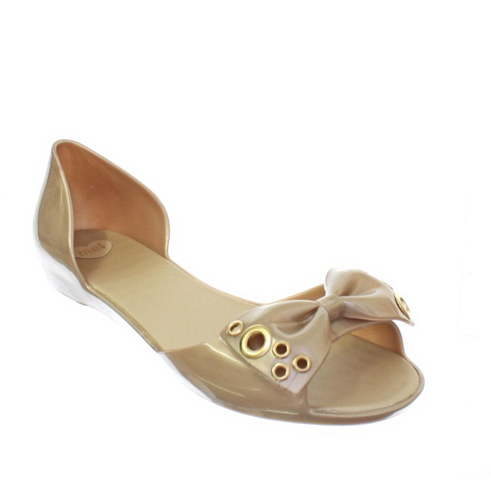 sandalen damen mel fresh ii gold schleife gummi plastik slipper flach gr 36 41 ebay. Black Bedroom Furniture Sets. Home Design Ideas