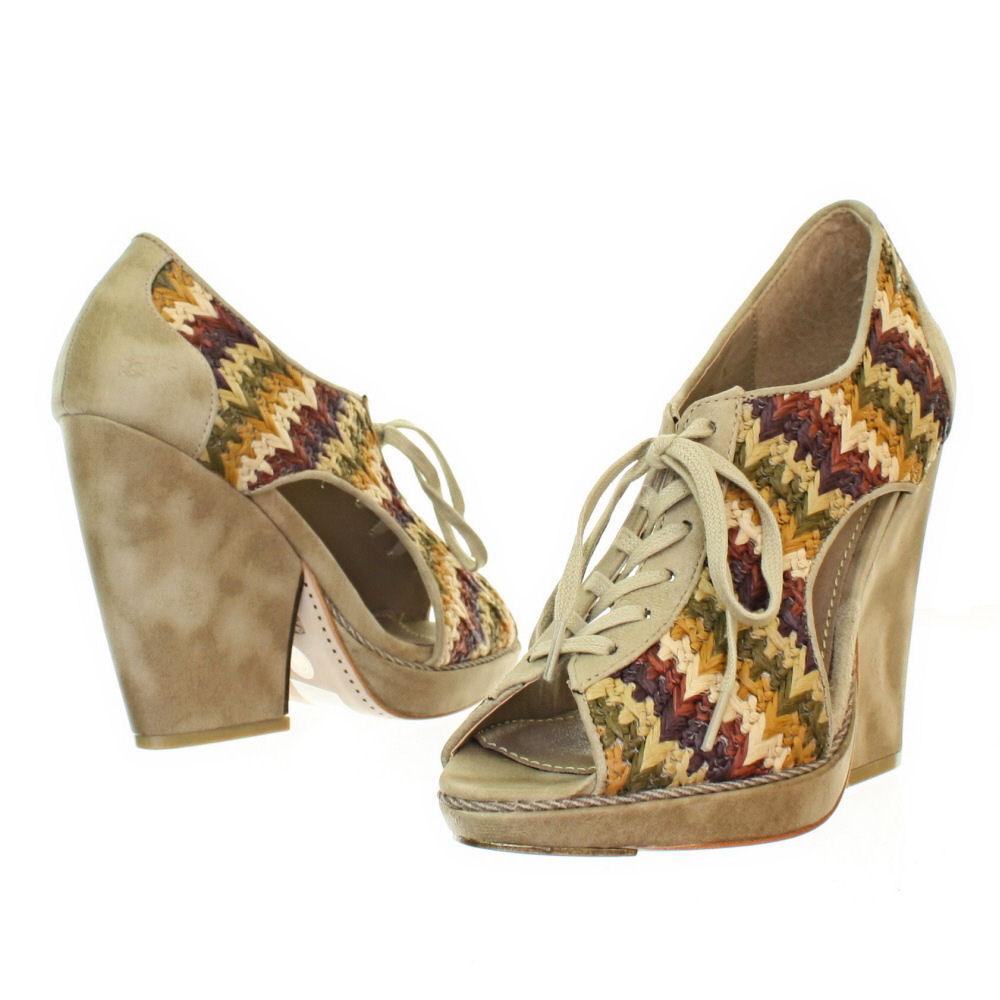 Womens Feud Britannia Whip Lace Up Flared Heel Designer ...