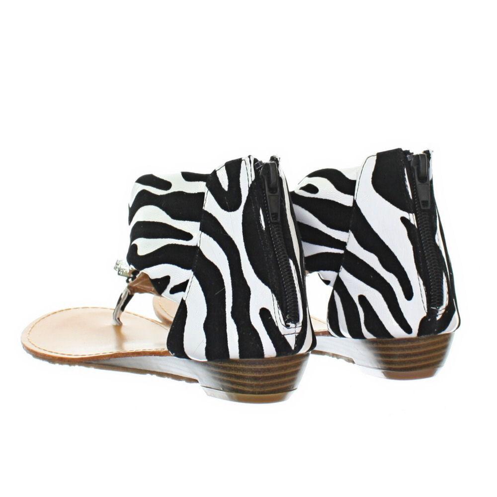 Womens Jewelled Gem Jewel Zebra Animal Print Toe Post Flat