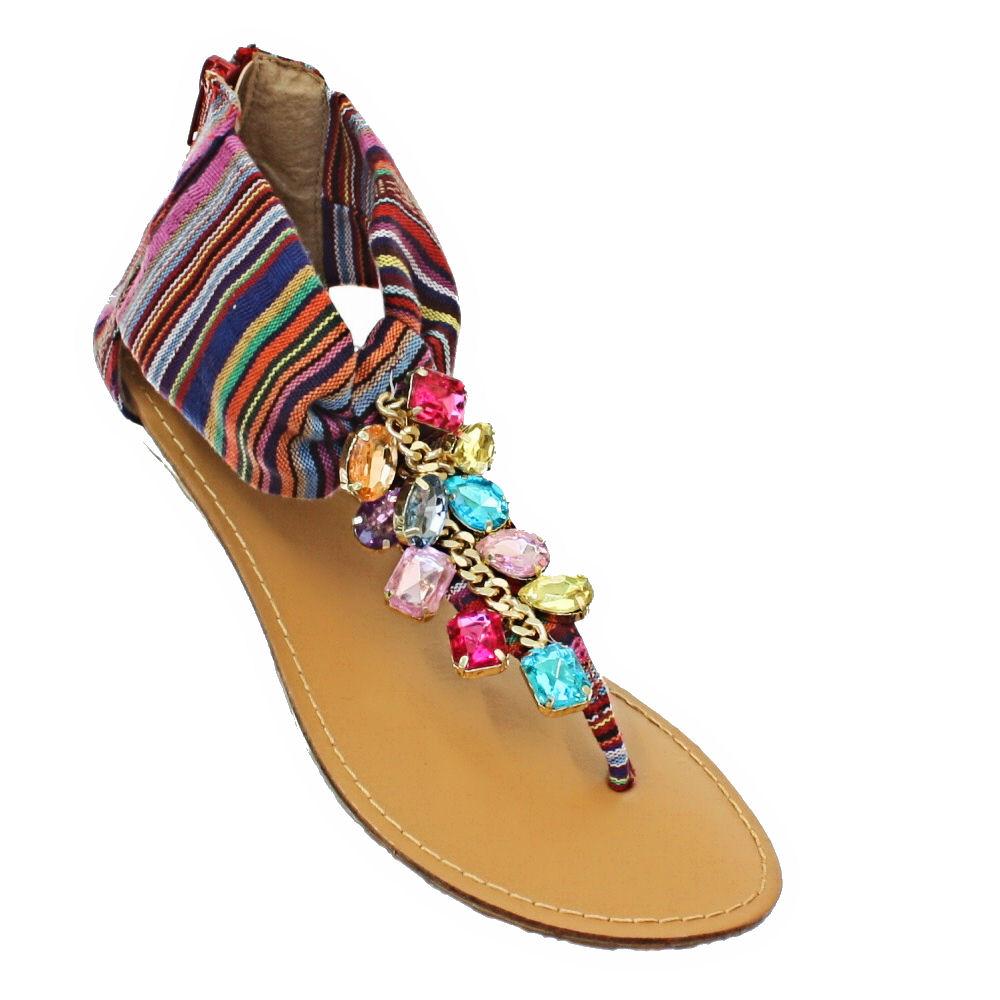 Womens Aztec Low Flat Jewelled Gem Toe Post Ladies Sandals