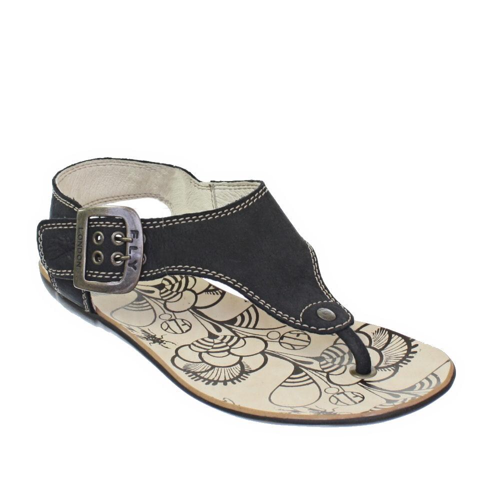 sandalen damen fly london flach zehensteg schwarz pitti. Black Bedroom Furniture Sets. Home Design Ideas
