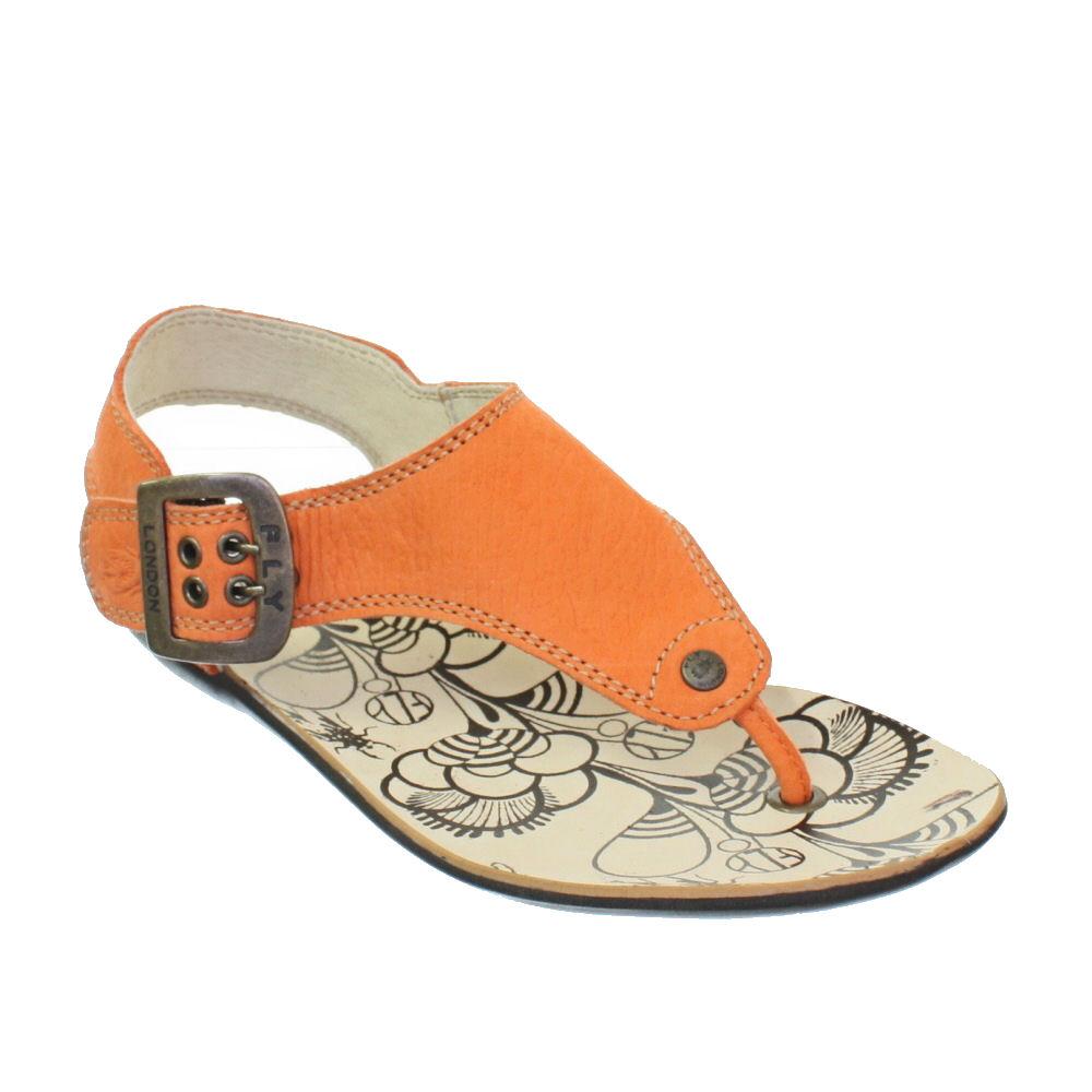 Womens Fly London Melt Orange Leather Toe Post Flat Ladies