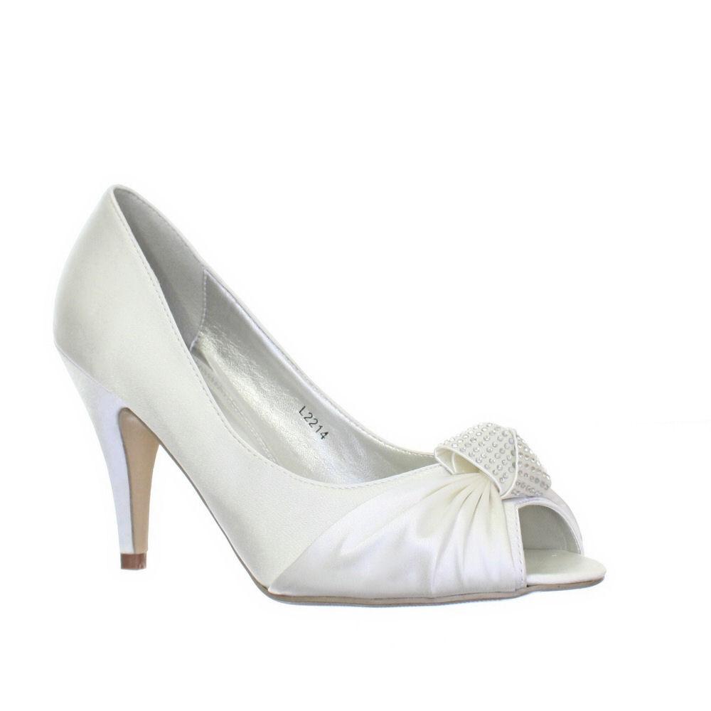 womens satin ivory peep toe diamante 9cm heel bridal. Black Bedroom Furniture Sets. Home Design Ideas