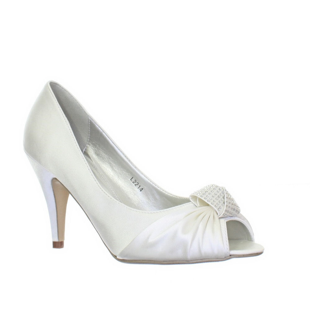 womens satin ivory peep toe diamante 9cm heel bridal