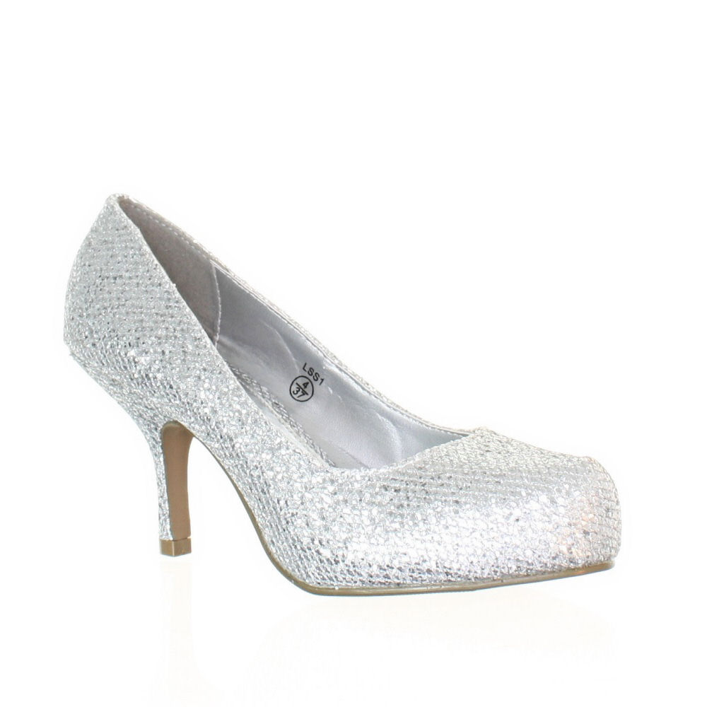 womens low kitten heel metallic glitter prom court