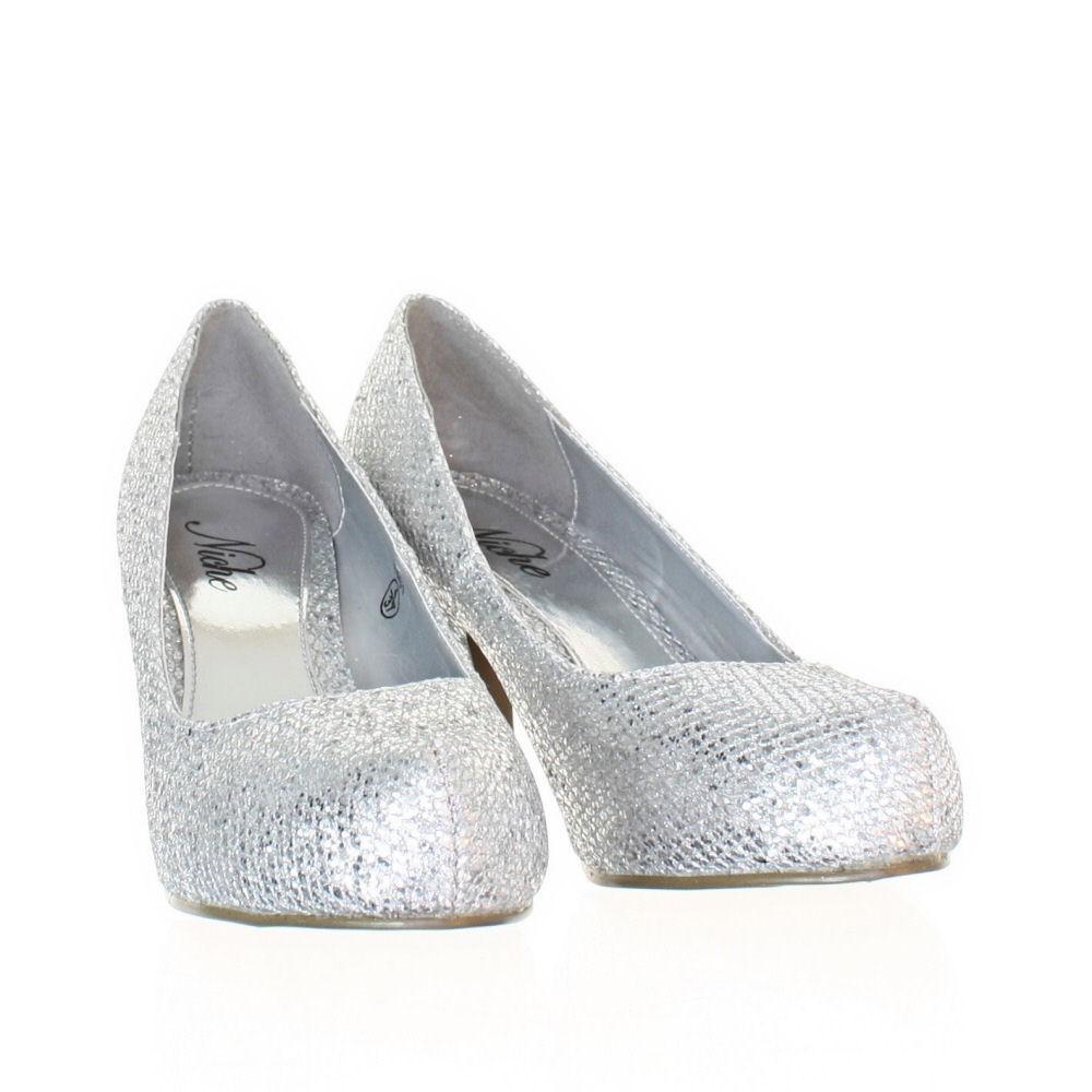 Womens Low Kitten Heel Metallic Glitter Party Prom Court Shoes ...