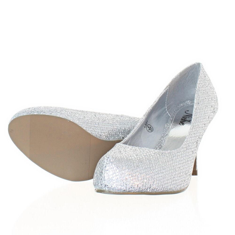 Silver Glitter Kitten Heel Shoes