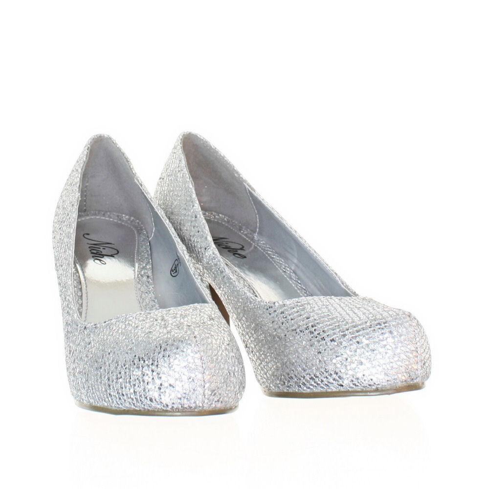Silver Glitter Shoes Low Heel