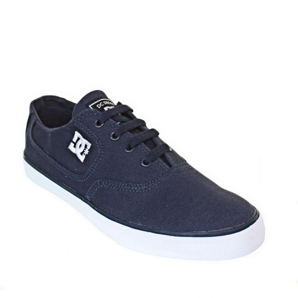 mens dc shoes flash navy blue lace up canvas plimsoll
