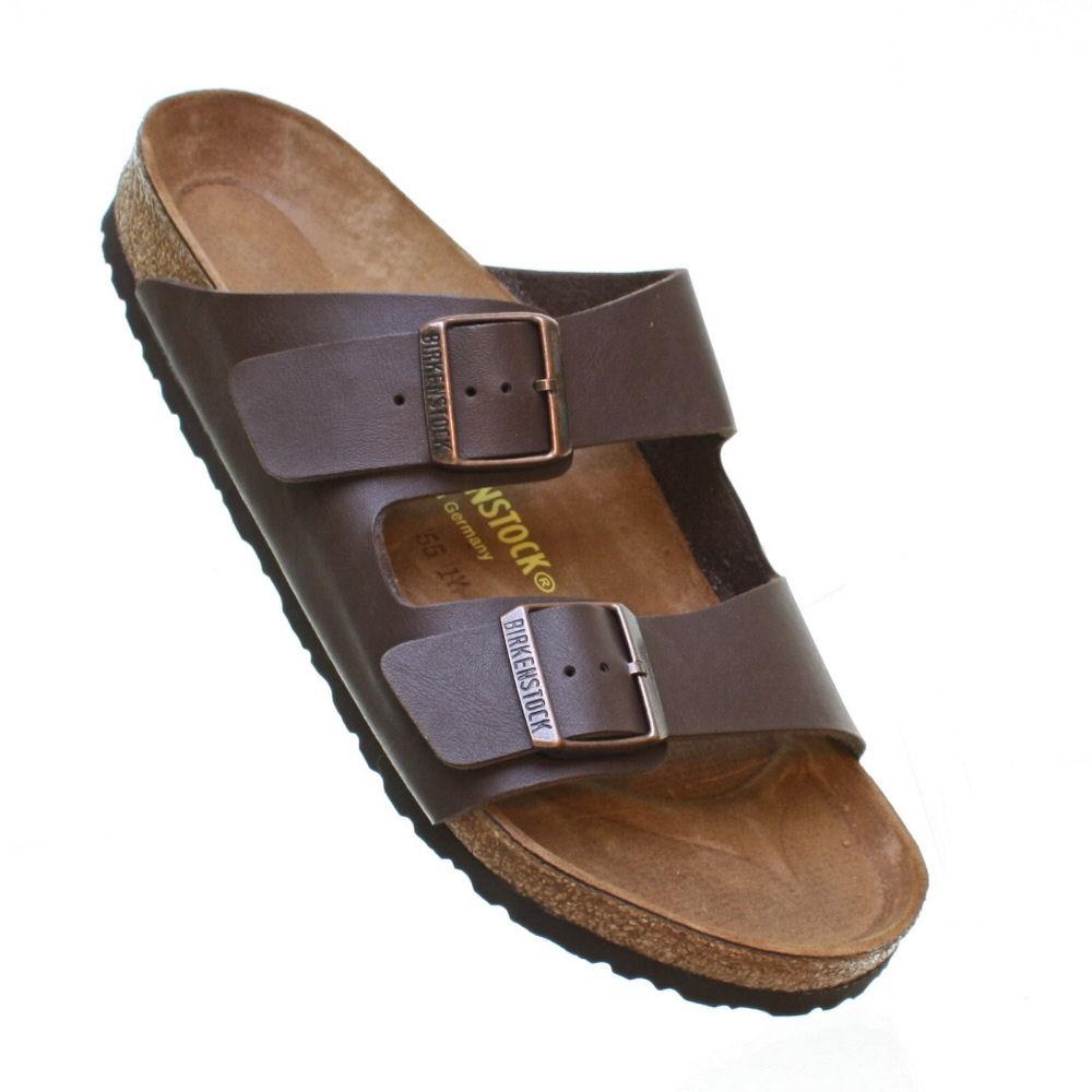 mens birkenstock arizona brown flat footbed straps