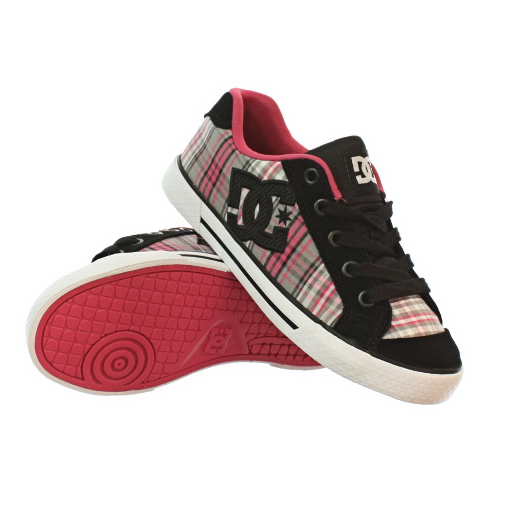 womens dc shoes chelsea battleship black pink plaid skate