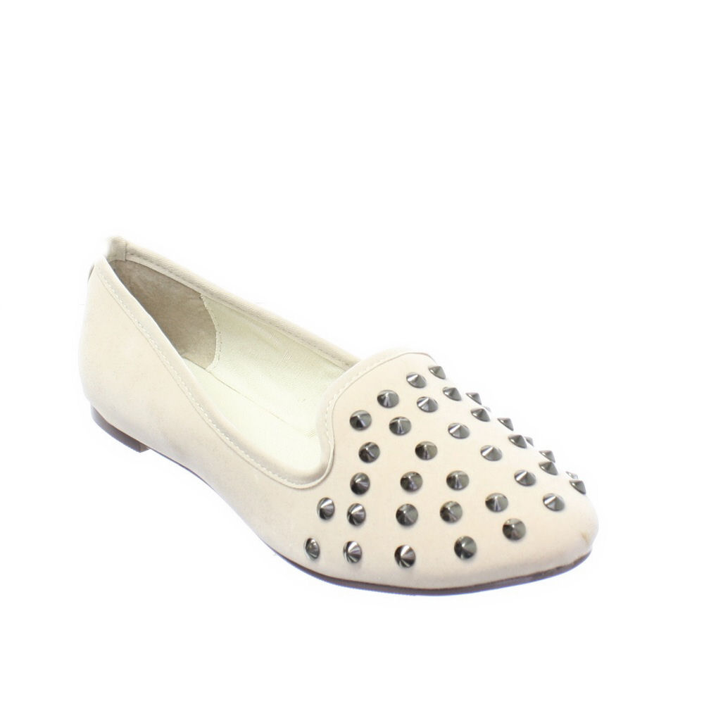 WOMENS-FLAT-SUEDE-STYLE-STUDDED-LADIES-STUDDED-SLIPPER-LOAFERS-SIZE-3-8