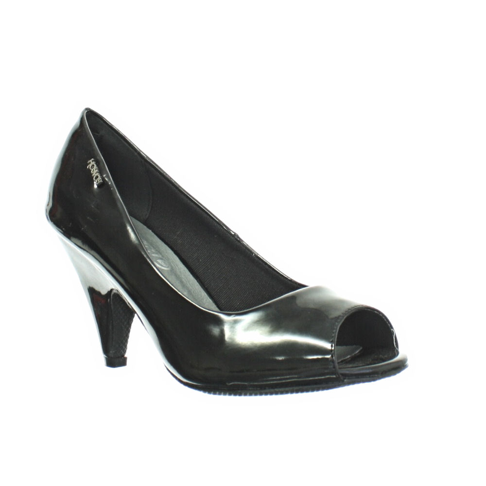Black Peep Toe Shoes Mid Heel - Is Heel