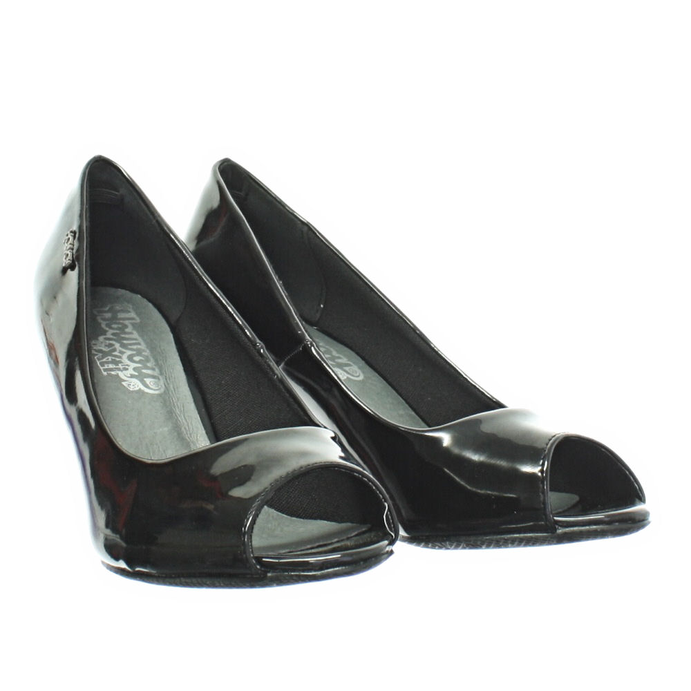 Black Mid Heel Peep Toe Shoes - Is Heel